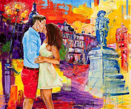 färgstark kärlek på ett torg